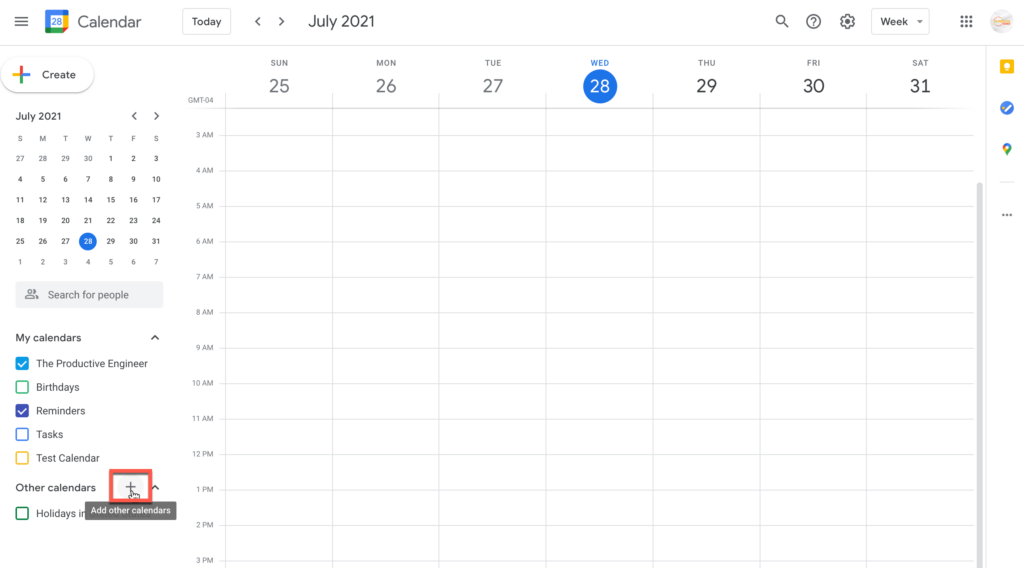Click the plus (+) button to add other calendars in Google Calendar