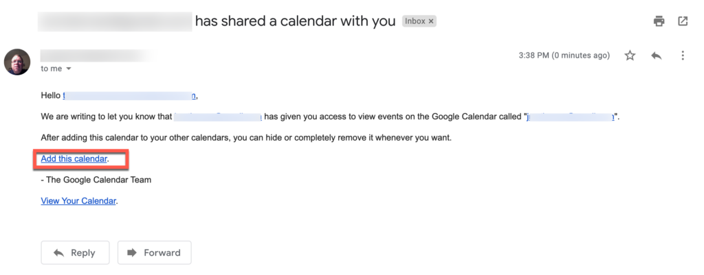 Email confirming another user has shared their Google Calendar with you