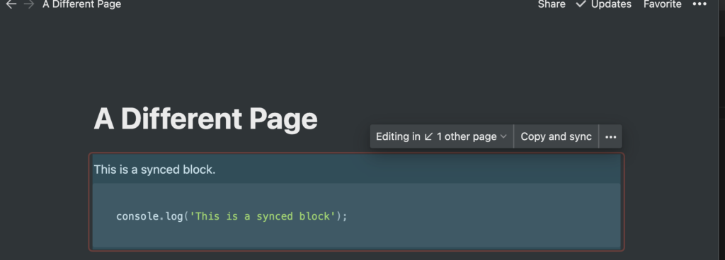 Pasting a synced block link into another page in Notion