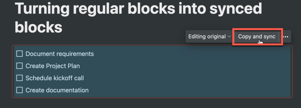 Todo list in a synced block in Notion