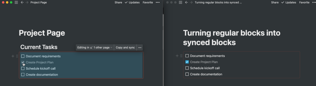 Checking a todo box updates in all pages containing that synced block