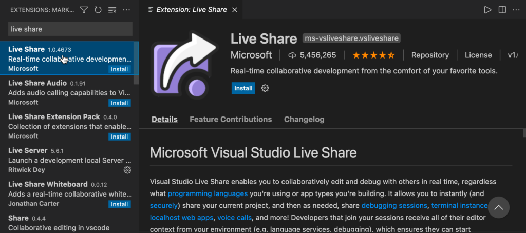 Live Share extension in VS Code
