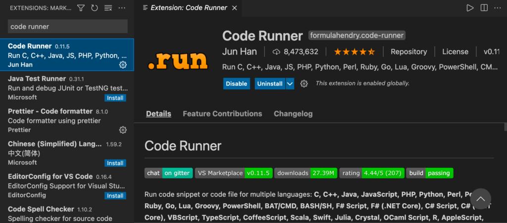 Code Runner extension for VS Code