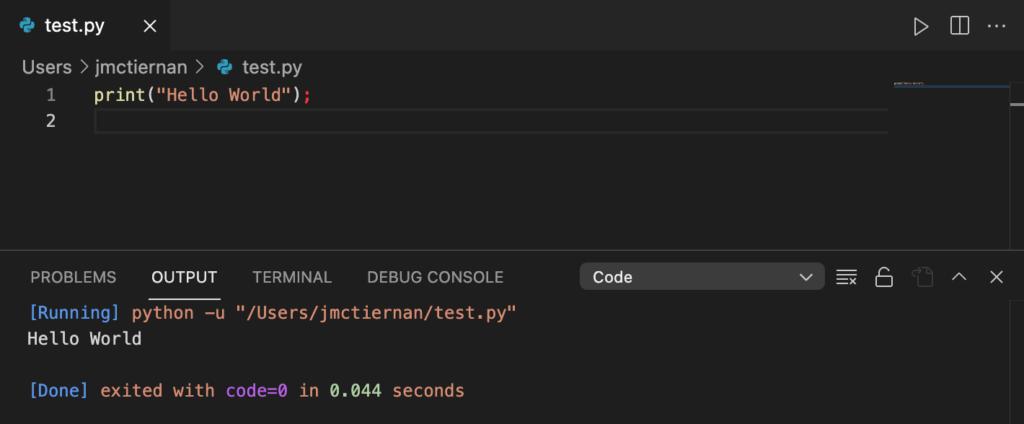 Running a Python script inside VS Code