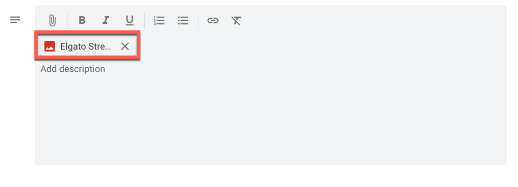 a file attached to an event in Google Calendar