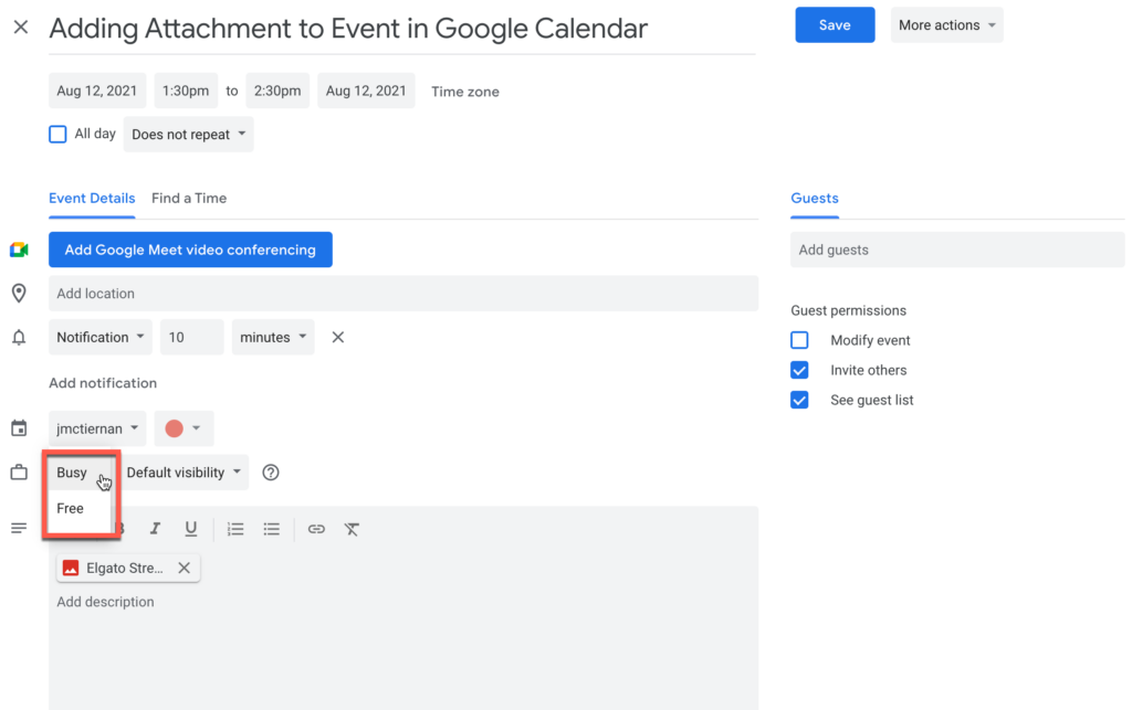 Setting your availability in an event in Google Calendar