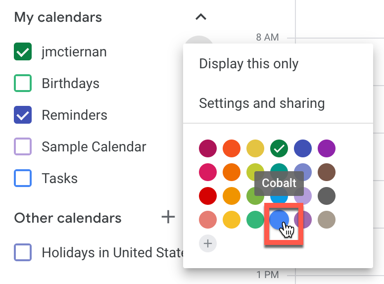 Changing the color of a calendar in Google Calendar