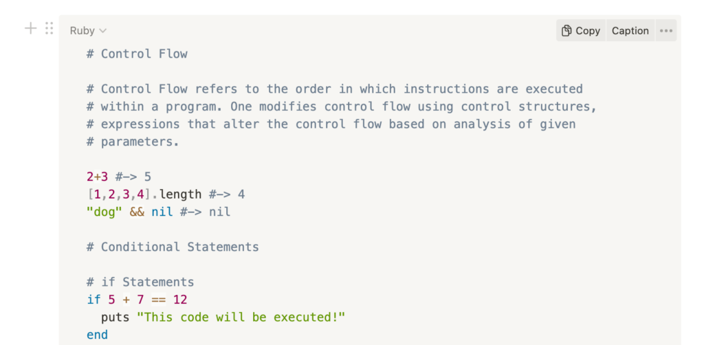 Code block in Notion