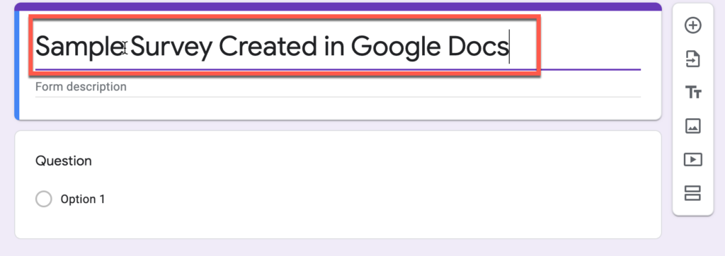 Editing title of form in Google Docs