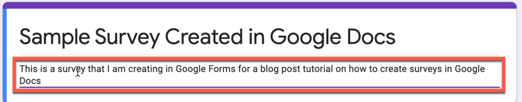 Adding a description to a form in Google Forms
