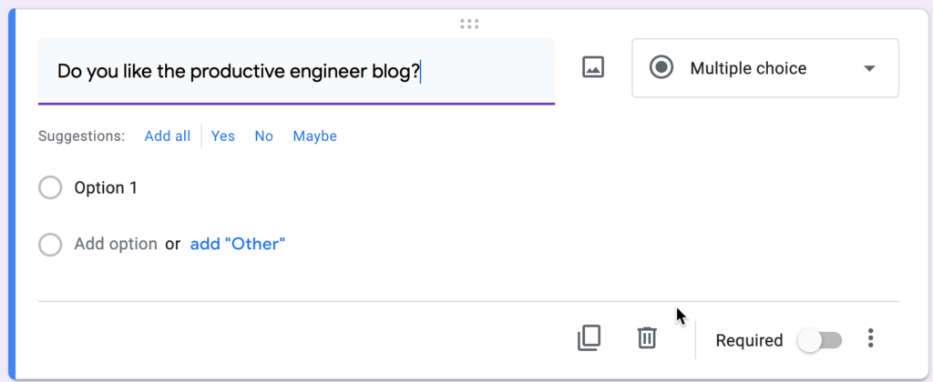 Adding a question to a survey in Google Forms