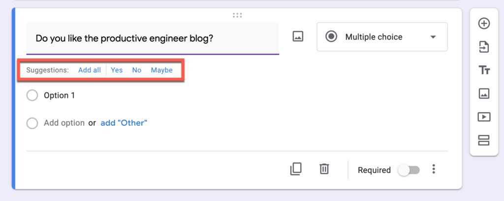 suggested responses in Google Forms
