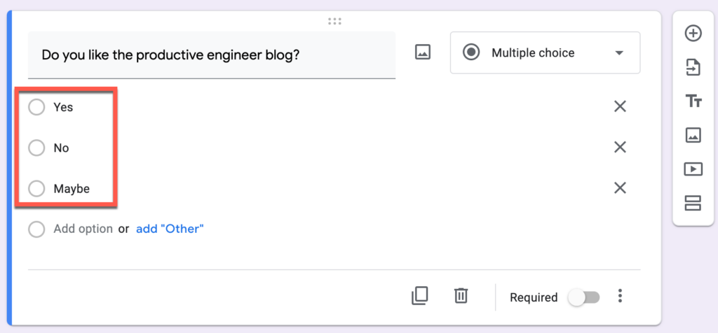 Responses added to a survey question in Google Forms