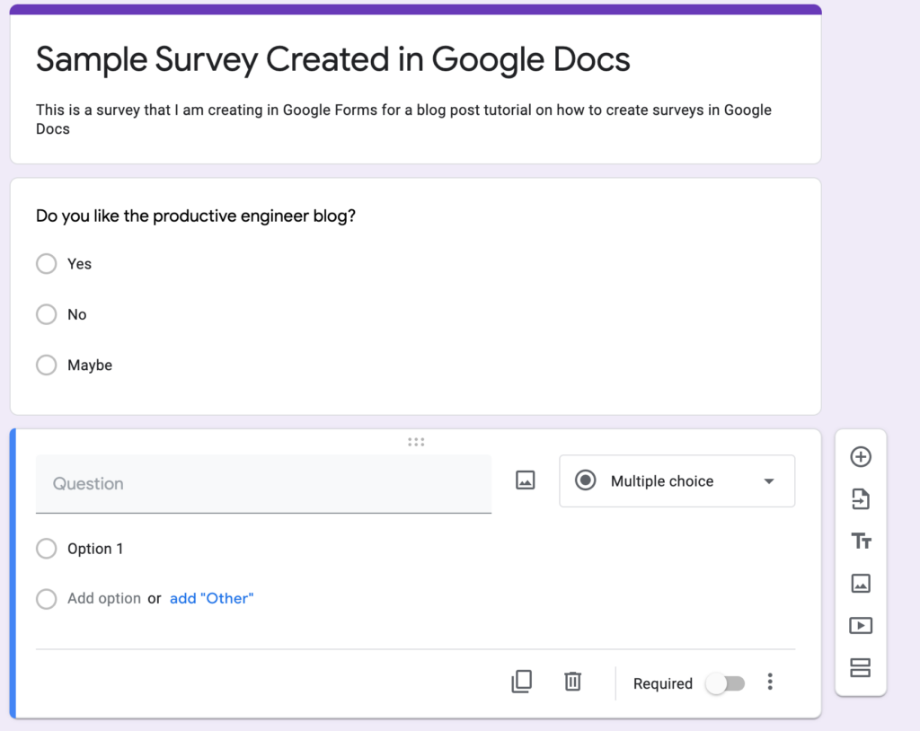 Adding a new question to a form in Google Forms