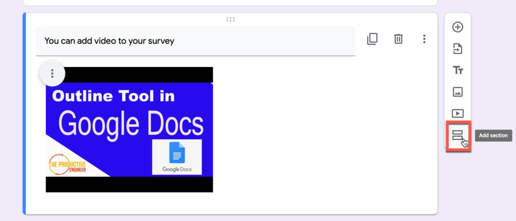 Add section button in Google Forms