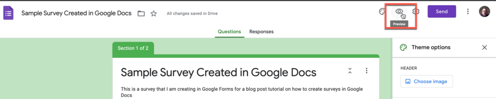 Preview button in Google Forms