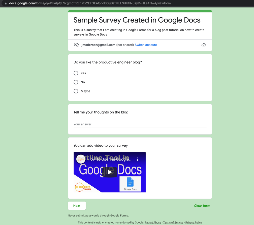 A published form in Google Forms
