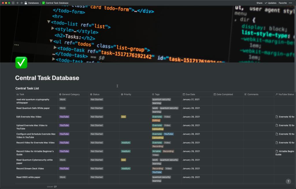 Task Database in Notion