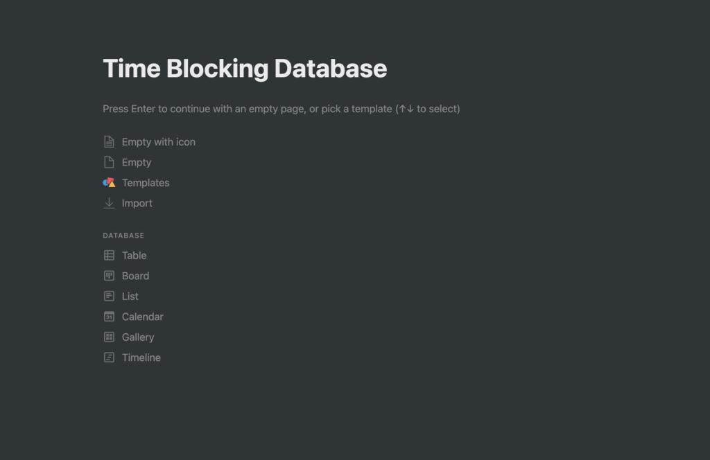 Creating a Page for Time Blocking in Notion