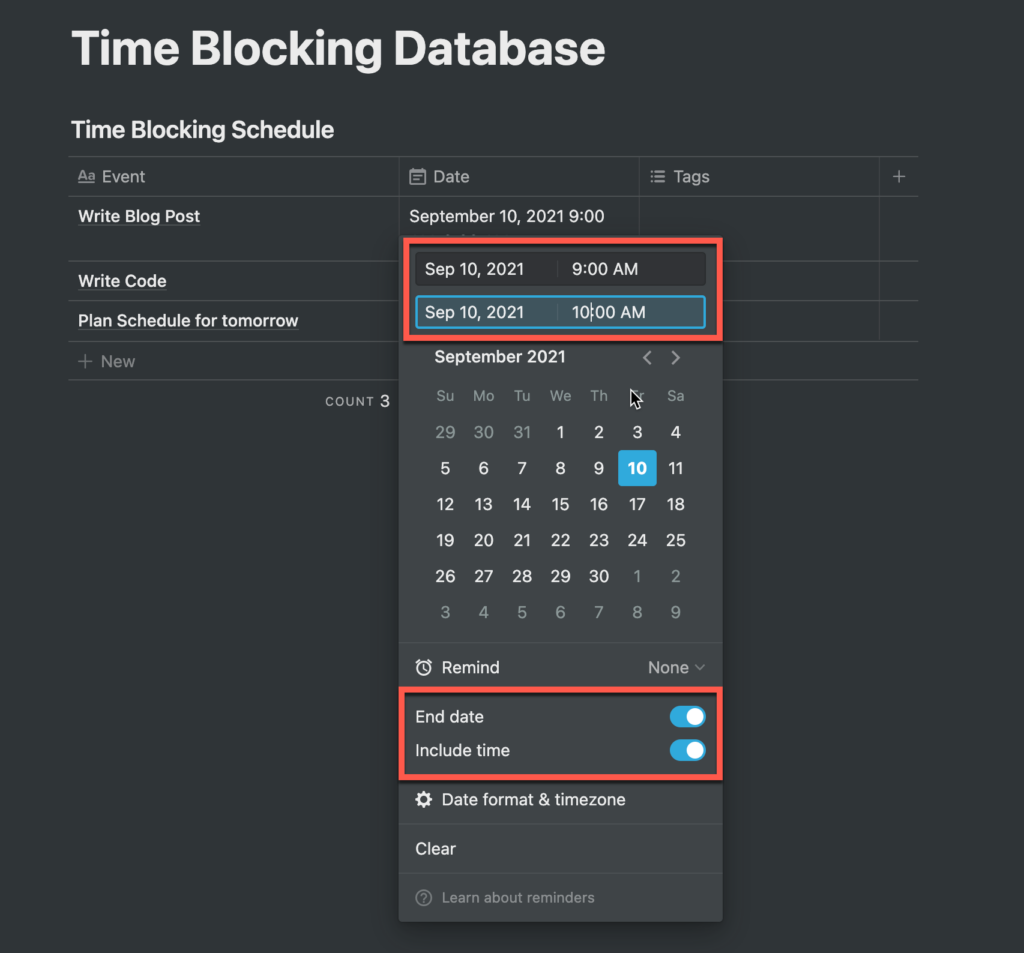 Setting a time block in a table in Notion