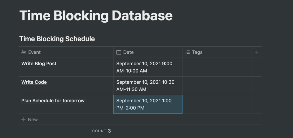 Assigning time blocks to tasks in Notion