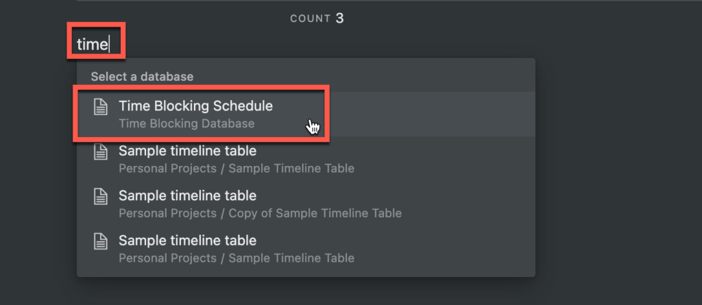 Selecting time blocking table for linked database in Notion
