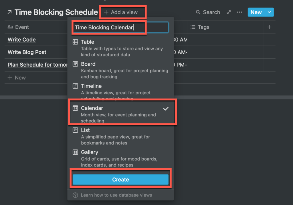 Adding a calendar view to a linked database in Notion