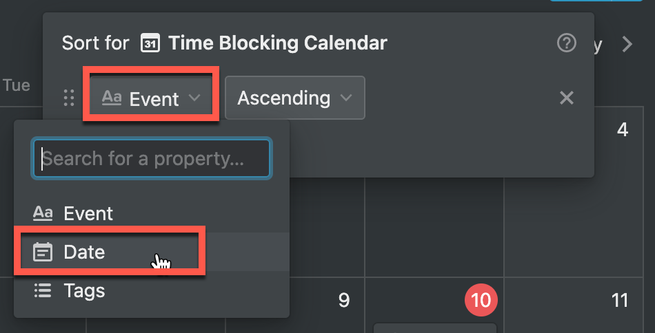 setting up a date sort in Notion