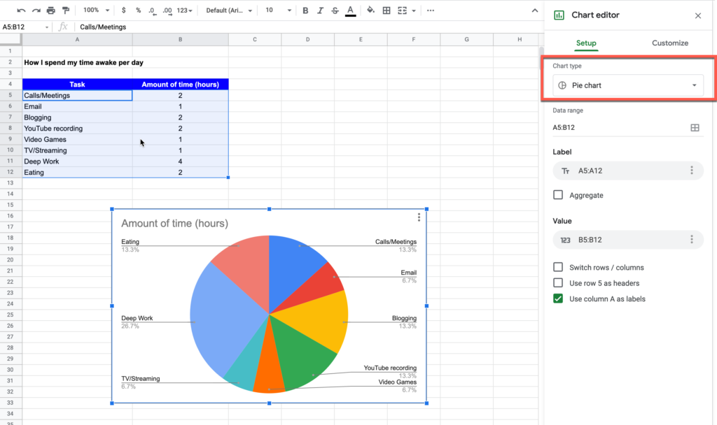 Generating a pie chart in Google Sheets