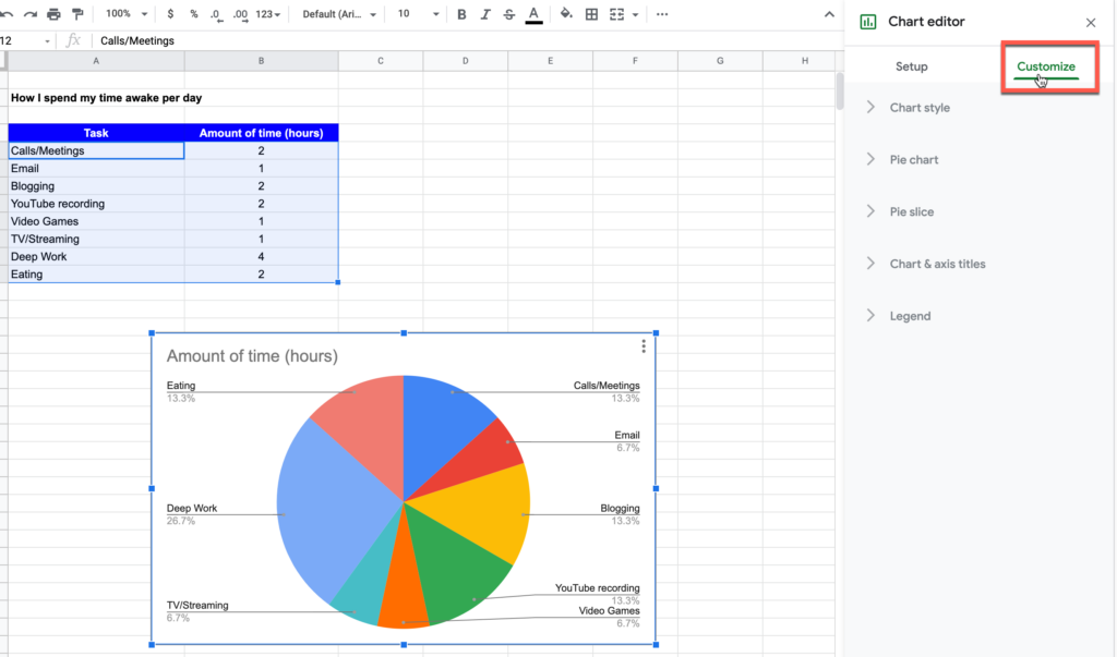 Accessing the Customize chart option in Google Sheets
