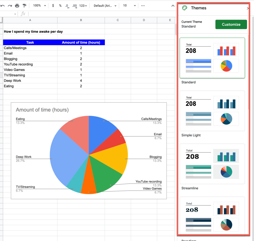 Various theme options in Google Sheets