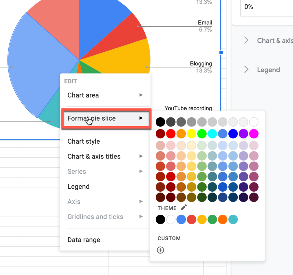 Changing the color of a pie slice in Google Sheets