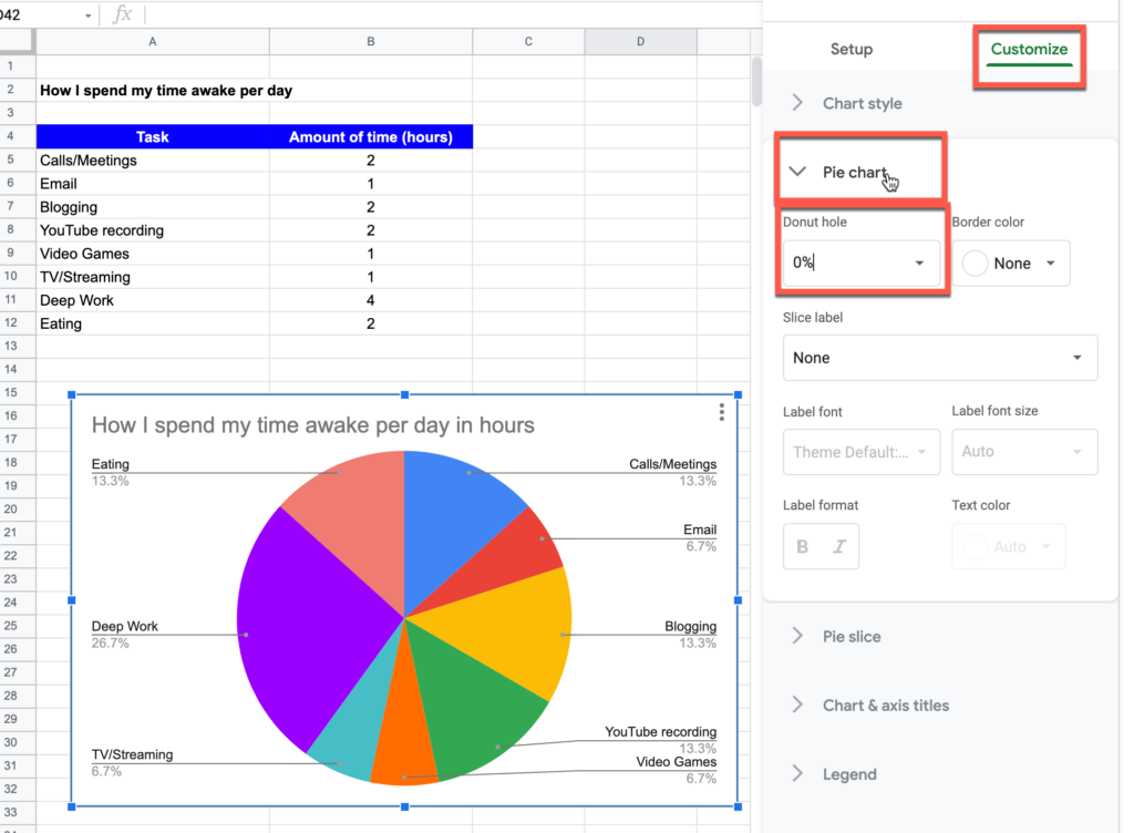 """Accessing the """"Donut Hole"""" option for charts in google sheets"""