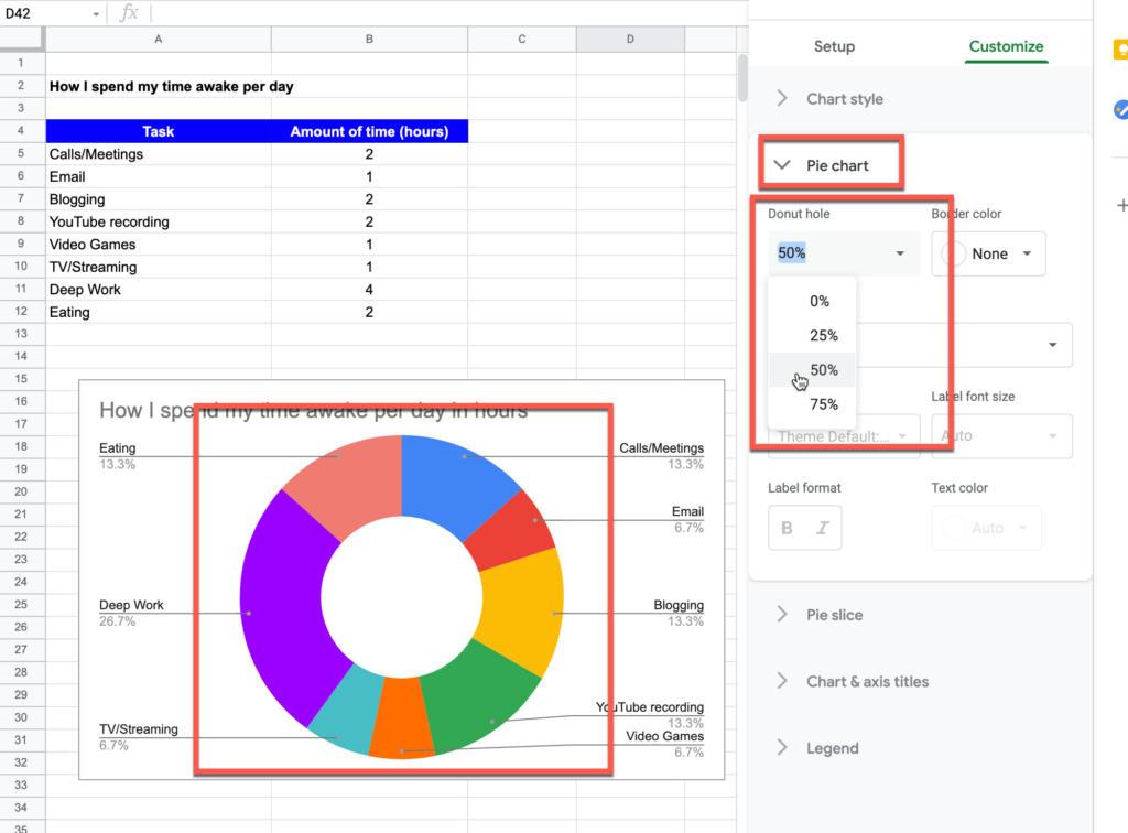 Setting the donut hole size to 50% in Google Sheets
