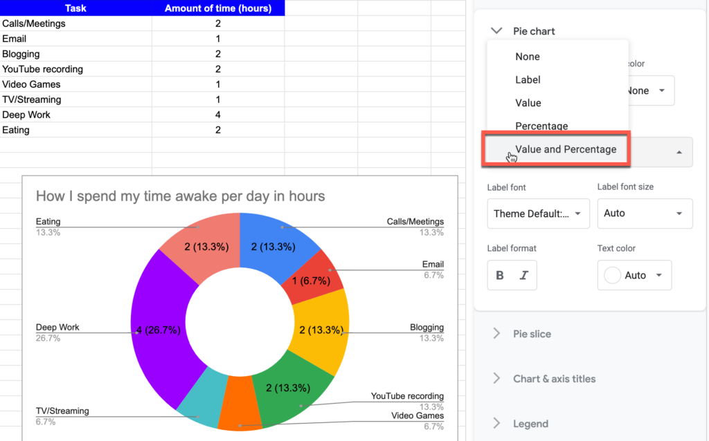 Value and Percentage setting for pie chart in Google Sheets