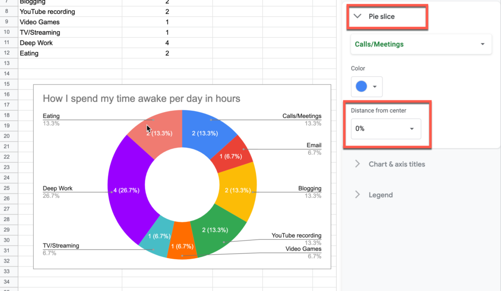 Distance from center setting for a pie slice in Google Sheets