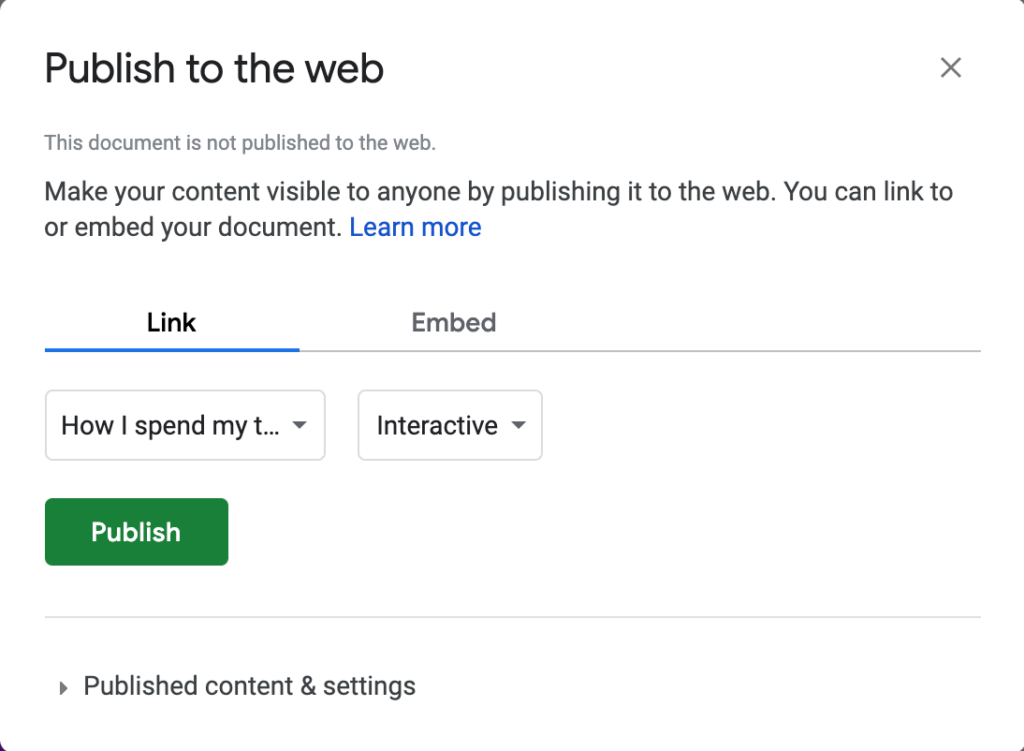Publishing options for a pie chart in Google Sheets